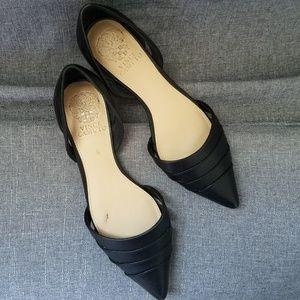 Vince Camuto Halette Flat Black Leather Shoes